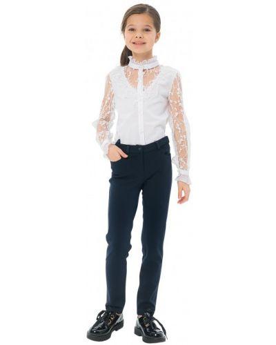 Школьная блуза на пуговицах с оборками с воротником карамелли