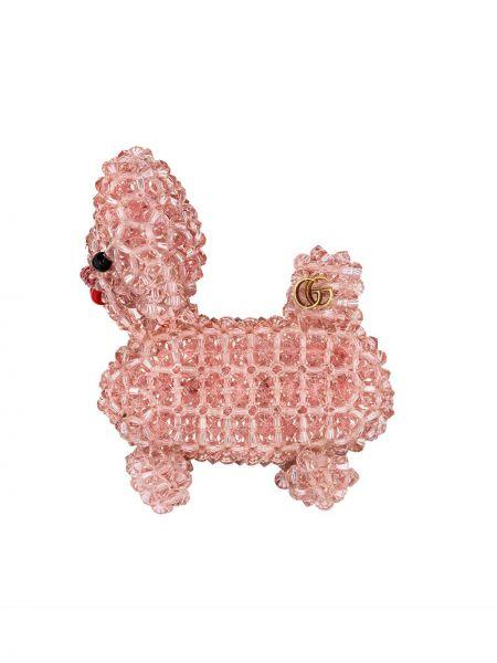 Розовая брошь с бисером металлическая Gucci