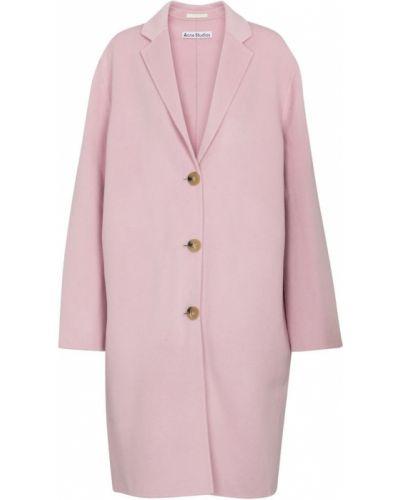 Фиолетовое однобортное шерстяное пальто Acne Studios
