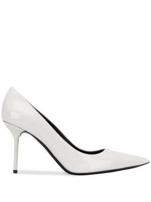 Кожаные белые туфли-лодочки без застежки Tom Ford