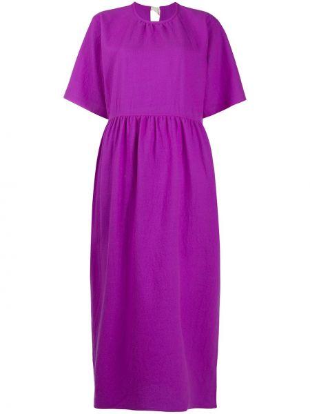 Шерстяное розовое платье миди с короткими рукавами с круглым вырезом Sofie D'hoore