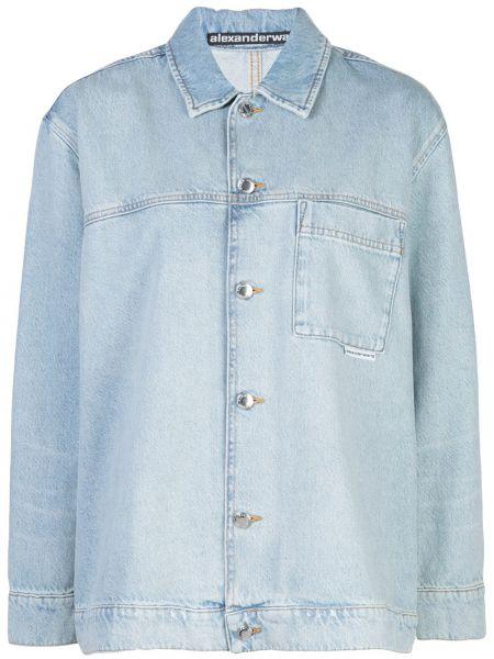 Джинсовая рубашка в полоску под запонки Alexander Wang