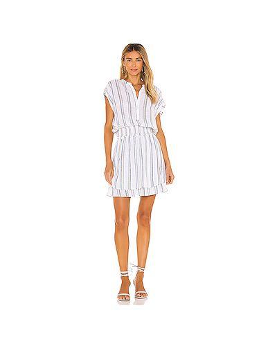 Белое шелковое платье на пуговицах Rails