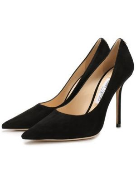 Замшевые туфли черные бархатные Jimmy Choo