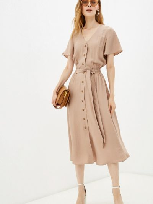 Прямое платье - бежевое Gloss