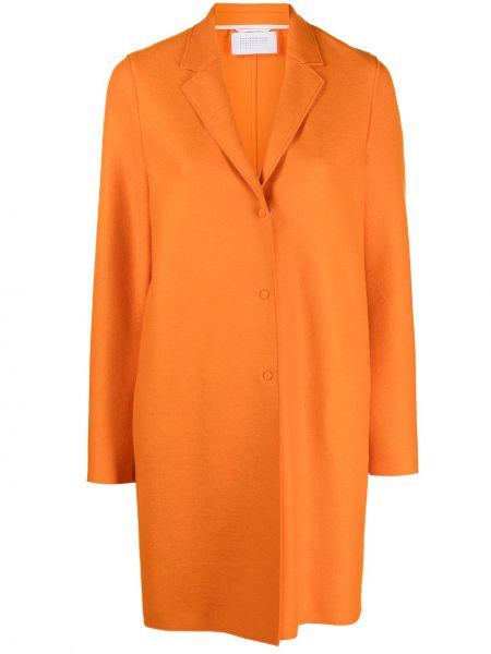 Оранжевое прямое шерстяное длинное пальто Harris Wharf London