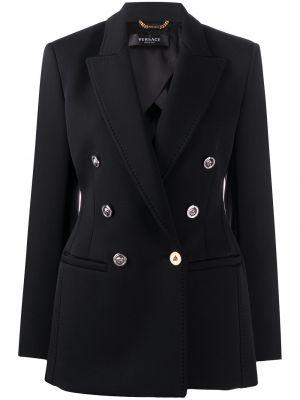 Шерстяной черный удлиненный пиджак двубортный Versace