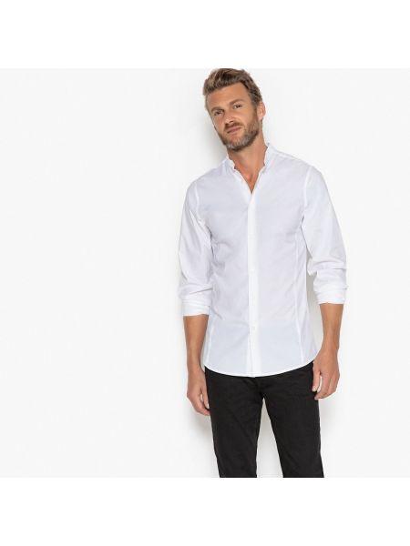 Рубашка с длинным рукавом с воротником-стойкой хлопковая La Redoute Collections
