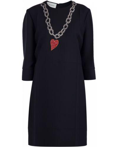 Платье мини со складками из крепа Gucci