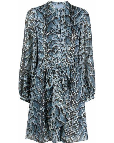 Шелковое синее платье с длинными рукавами Temperley London