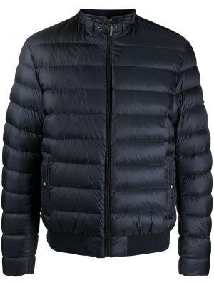 Puchaty z rękawami niebieski długa kurtka z łatami Belstaff