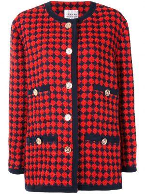 С рукавами красное шерстяное длинное пальто на пуговицах Edward Achour Paris