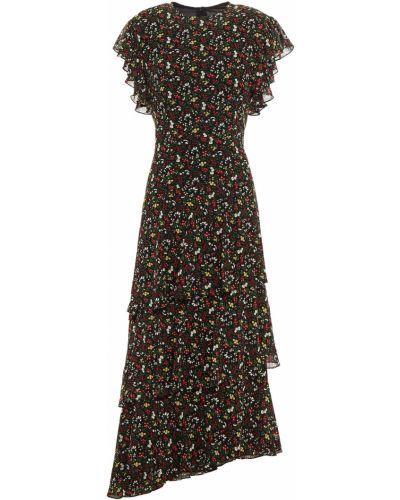 Асимметричное черное платье миди с подкладкой Mikael Aghal