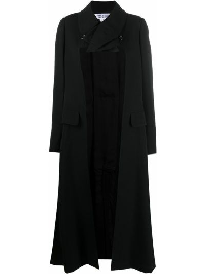 Шерстяное черное длинное пальто с лацканами Comme Des Garçons Comme Des Garçons