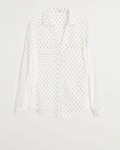 Блузка с длинным рукавом с V-образным вырезом белая Mango