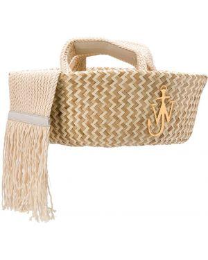 Кожаная сумка соломенная Jw Anderson