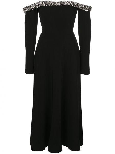 Черное расклешенное платье миди на молнии из вискозы Jason Wu Collection