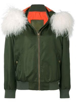 Кожаная куртка на молнии - зеленая Mr & Mrs Italy