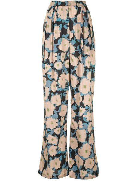 Шелковые коричневые брюки свободного кроя с поясом Christian Wijnants