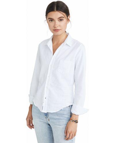 Хлопковая белая джинсовая рубашка с длинными рукавами Frank & Eileen