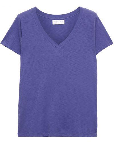 Niebieska koszulka bawełniana Velvet By Graham & Spencer