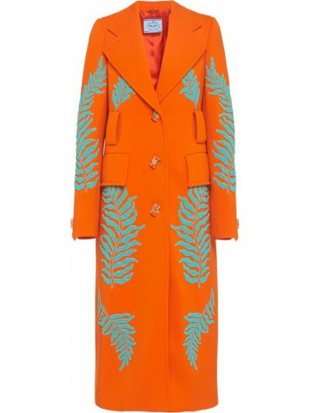 Шерстяное длинное пальто с воротником с вышивкой на пуговицах Prada