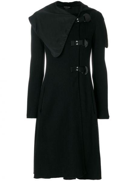 Шерстяное черное пальто с капюшоном Giorgio Armani Pre-owned