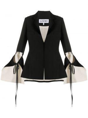 Хлопковый черный пиджак с лацканами Loewe