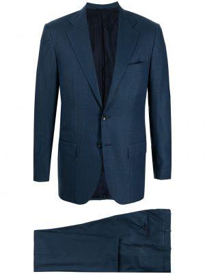 Синий костюм длинный Kiton