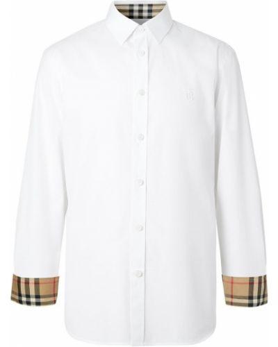 Biała koszula bawełniana z długimi rękawami Burberry