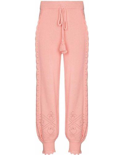 Розовые брюки с завышенной талией Loveshackfancy
