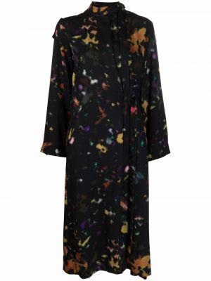Платье макси с длинными рукавами - розовое Kenzo