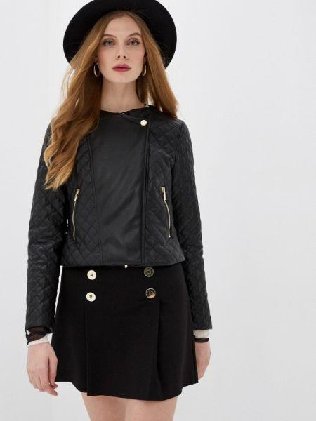 Кожаная черная кожаная куртка Iblues