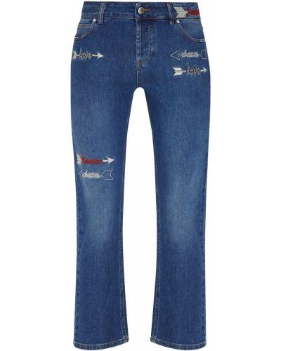 Укороченные джинсы с вышивкой синие Red Valentino