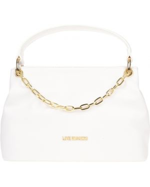 Кожаная сумка - белая Love Moschino