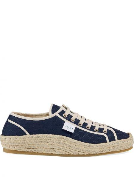 Niebieski ażurowy włókienniczy sneakersy na sznurowadłach Gucci