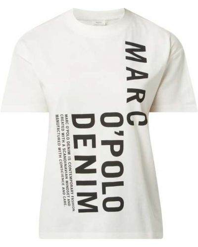 T-shirt z printem - biała Marc O'polo Denim