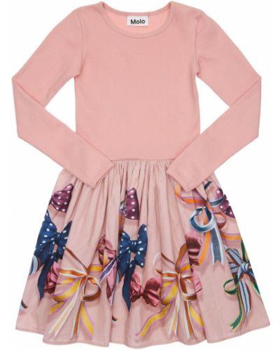 Хлопковое розовое платье в рубчик Molo