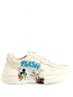 Biały sneakersy na sznurowadłach z łatami okrągły nos Gucci