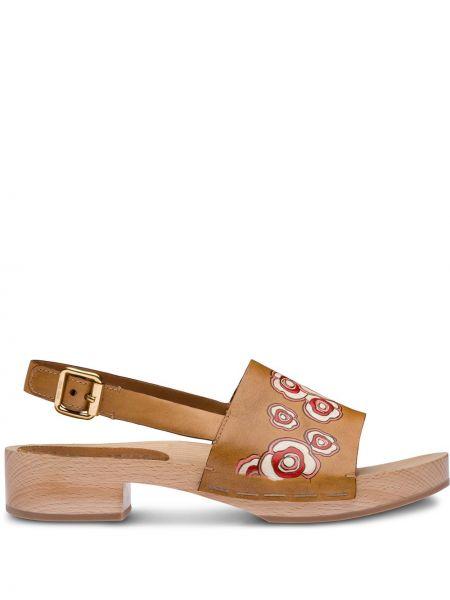 Sandały skórzany piasek Miu Miu