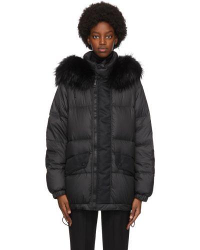 Нейлоновая черная длинная куртка с манжетами с воротником Mr & Mrs Italy