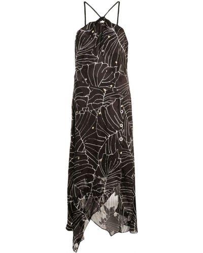 Платье в цветочный принт - черное Yigal AzrouËl