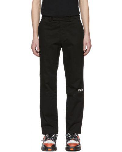 Czarne spodnie bawełniane z haftem Rochambeau