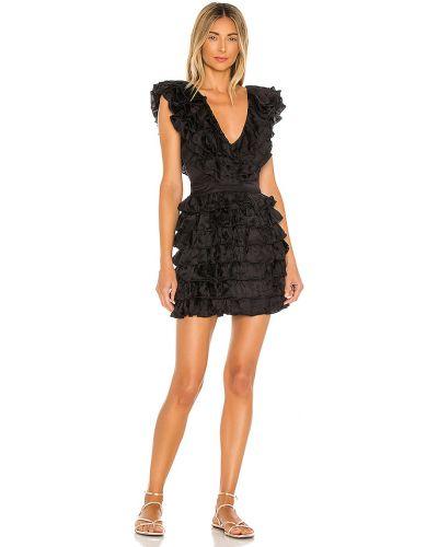 Czarny włókienniczy sukienka mini prążkowany z zamkiem błyskawicznym Majorelle