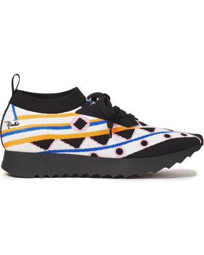 Czarne sneakersy sznurowane koronkowe Emilio Pucci