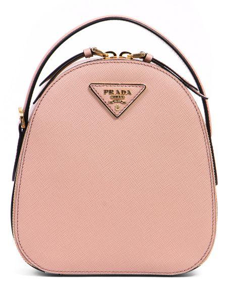 Маленький бежевый рюкзак через плечо с логотипом Prada