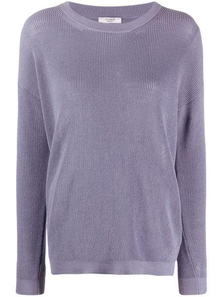 Облегченный фиолетовый длинный свитер в рубчик Peserico