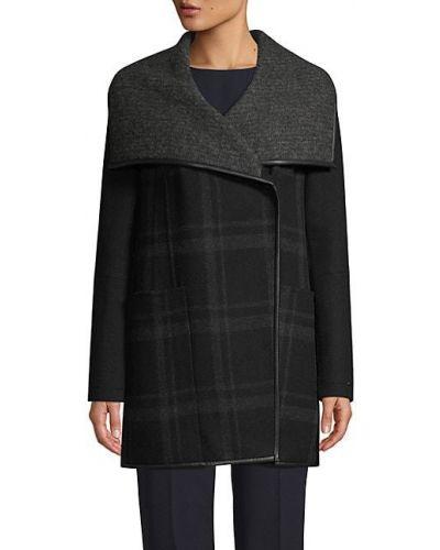 Шерстяное длинное пальто оверсайз с воротником T-tahari