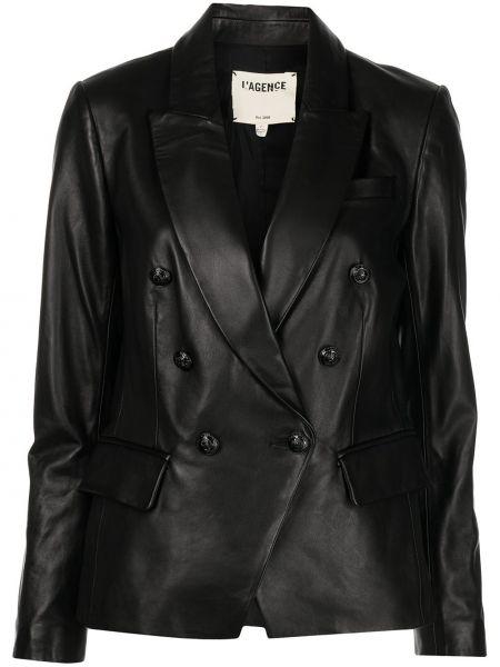 Кожаная куртка на пуговицах - черная L'agence