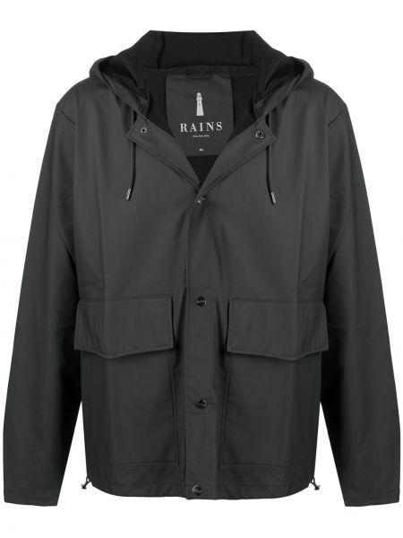Черная куртка с капюшоном на шнурках Rains
